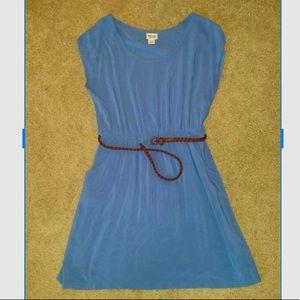 Dusty blue belted dress